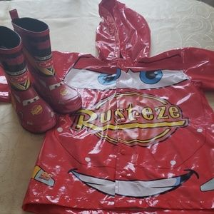 Rain boots and jacket. Lightning McQueen